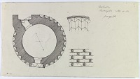 """view D-380: Waramin. Imamzadeh 'Ala al-din. Plan and elevation of details. Marked """"Unpubl."""" digital asset: Varamin (Iran): Ala al-Din Tomb Tower: Ground Plan of the Flanged Mausoleum [drawing]"""