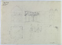 """view D-381: Damghan. Niza'abad (?). Plan and elevation. Marked """"Unpubl."""" digital asset: Damghan (Iran): Sketch Plan and Elevation of Unidentified Building [drawing]"""