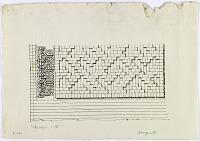 "view D-386: Waramin. Brickwork and inscription. Marked ""Unpubl."" digital asset: Varamin (Iran): Brick Wall with Geometrical Ornamentation [drawing]"