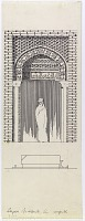 """view D-387: Damghan. Pir Alamdar. Portal. Marked """"Unpubl."""" digital asset: Damghan (Iran): Pir-i Alamdar Mausoleum, Entrance Portal: Elevation of Rectangular Doorway Crowned by a Semi-Vault and Pointed Arch which is Inscribed with an Arabic Inscription, in Kufic Script, [drawing]"""