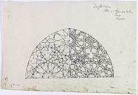 view D-389: Isfahan, Chenar i Valbali (?). Masjid-i Djuma'. Portal. Plan of half dome digital asset: Isfahan (Iran): Friday Mosque, North-East Portal (no longer in use): Brick Ornamentation above Doorway [drawing]