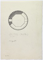 """view D-392: Mil-i Radkan (N of Tus). Section. Marked """"Unpubl."""" digital asset: Radkan (Iran): Tomb Tower at Radkan, East: Ground Plan [drawing]"""