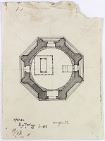 """view D-393: Isfahan. Dja'fariyya. Section. Marked """"Unpubl."""" digital asset: Isfahan (Iran): Jafar Mausoleum: Ground Plan of the Octagonal Tomb Tower [drawing]"""