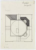 """view D-395: Sangbast, plan. Marked """"Unpubl."""" digital asset: Sang Bast (Iran): Arslan Jadhib Mausoleum and Minaret: Ground Plan [drawing]"""