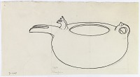 view D-647: Damaghan. Prehistoric pottery. Spouted jar. Ink.IAE, fig.212 digital asset: Damghan (Iran): Reconstruction of Pottery with Small Animal Head at the Start of the Spout [drawing]