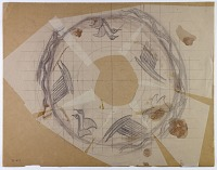 view D-637: Nihavand, prehistoric pottery. Pencil drawing of rim.IAE, fig.151 digital asset: Vicinity of Nihavand (Iran): Reconstruction of Pottery with Painted Patterns: Rim of a Bowl with Animal Design, from Prehistoric Mound of Tepe Giyan [drawing]