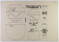 view D-638: Nihavand, prehistoric pottery. Pen drawing of profiles and designs.ID, p1.XXV, top digital asset: Vicinity of Nihavand (Iran): Reconstruction of Pottery with Painted Patterns: Bowls with Animal Design, from Prehistoric Mound of Tepe Giyan [drawing]