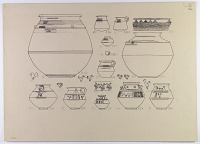 view D-640: Nihavand, prehistoric pottery. Ink of profiles and designs.ID, p1.XXVI, top digital asset: Vicinity of Nihavand (Iran): Reconstruction of Pottery with Painted Patterns: Bowls with Geometric Ornaments and Animal Design, from Prehistoric Mound of Tepe Giyan [drawing]