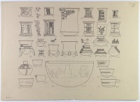 view D-642: Nihavand, prehistoric pottery. Ink of same subjects.ID, p1.XXVI, top digital asset: Vicinity of Nihavand (Iran): Reconstruction of Pottery with Painted Patterns: Bowls with Geometric Ornaments and Animal Design, from Prehistoric Mound of Tepe Giyan [drawing]
