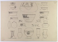 view D-643: Nihavand, prehistoric pottery. Ink of same subjects.ID, p1.XXVI, bottom digital asset: Vicinity of Nihavand (Iran): Reconstruction of Pottery with Painted Patterns: Bowls with Geometric Ornaments and Animal Design, from Prehistoric Mound of Tepe Giyan [drawing]