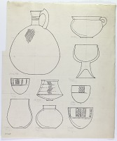 view D-648: Damaghan and Ashraf. Prehistoric pottery shapes.IAE, figs. 205 (jug, top left) and 207 (jar, center 2nd row) digital asset: Damghan (Iran) and Ashraf (Iran): Reconstruction of Silver-Grey Wares with Burnished Decoration Applied [drawing]