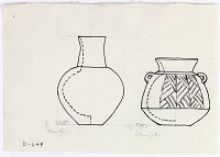 view D-649: Damaghan. Prehistoric pottery jar and bottle. Ink. Jar,IAE, fig.207 digital asset: Damghan (Iran): Reconstruction of Silver-Grey Ware with Burnished Decoration Applied [drawing]