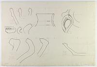 view D-654: Khurha, Daulatabad, Shahriyar. Prehistoric pottery. Profiles of rims, handle. See SK-I, pp.48--53 digital asset: Khurha, Daulatabad and Shahriyar (Iran): Reconstruction of Prehistoric Pottery: Profiles of Rims and Handles [drawing]