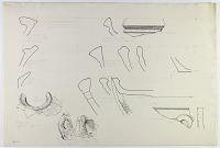 view D-655: Khurha, Tepe Maringar (E of Sunghur), Husainabad (opp. Naizar). Prehistoric pottery. Rims and handle. Ink. See SK-I, pp.18, 45, 47, 50, 51 and for Tepe Maringar pieces, Inv. No.800 digital asset: Khurha, Tepe Maringan and Husainabad (Iran): Reconstruction of Prehistoric Pottery: Profiles of Rims and Handles [drawing]
