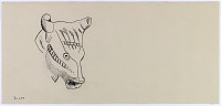 view D-659: Nihavand, Tepe Giyān. Prehistoric pottery. Head of rhyton. Ink.ID, fig.4 (Lieferung 3/4) digital asset: Vicinity of Nihavand (Iran): Reconstruction of Pottery with Painted Patterns: Animal Figure dDepicting Head of Rhyton, from Prehistoric Mound of Tepe Giyan [drawing]
