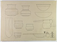 view D-666: Harsin, copper jars, etc. SeeIAE, figs.227, 230, 232 digital asset: Region of Harsin (Iran): Copper Vessels, One with Long Spout [drawing]