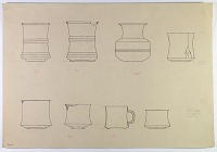 view D-667: Nihavand, Tepe Giyān. Copper jars and cups. SeeIAE, figs. 228, 230, 232 digital asset: Vicinity of Nihavand (Iran): Hammered Bronze or Copper Vessels, from Prehistoric Mound of Tepe Giyan [drawing]
