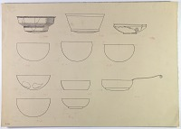 view D-668: Nihavand, Tepe Giyān. Ink. SeeIAE, figs.227, 231 digital asset: Vicinity of Nihavand (Iran): Hammered Bronze or Copper Vessels, from Prehistoric Mound of Tepe Giyan [drawing]