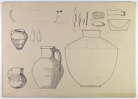 view D-670: Demavand, Khurramabad. Pottery and bronzes. Ink digital asset: Khurramabad and Demavand (Iran): Reconstruction of Prehistoric Pottery and Bronze Vessels [drawing]