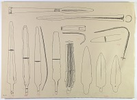 view D-677: Vicinity of Nihavand (Iran): Reconstruction of Bronze weapons, from Prehistoric Mound of Tepe Giyan digital asset: Vicinity of Nihavand (Iran): Reconstruction of Bronze weapons, from Prehistoric Mound of Tepe Giyan [drawing]