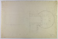 view D-715: Firuzabad, Qaleh-i Dukhtar. Plan. Palace of Ardashīr. (pencil, incomplete) digital asset: Vicinity of Firuzabad (Iran): Palace of Ardashir I: Unfinished Ground Plan [drawing]