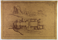"view D-716: Firuzabad, Qaleh-i Dukhtar. Plan and elevation of palace of Ardashīr. Drawn by F. Krefter (sepia print, 2 copies). Marked ""Unpublished"" digital asset: Vicinity of Firuzabad (Iran): Palace of Ardashir I: Ground Plan, Drawn by Friedrich Krefter [blueprint]"