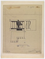view D-732: Istakhr. Studies of capitals digital asset: Excavation of Istakhr (Iran): Detail of Architectural Molding, Drawn by Karl Bergner [drawing]