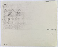 """view D-763: Damghan. Chehil Dukhtaran. Part of Kufic inscription. Pencil.Marked """"Unpubl."""" digital asset: Damghan (Iran): Chihil Dukhtaran Gunbad: Detail of Decorative Bands with Swastika and Triangle Motifs Encircling an Arabic Inscription, in Kufic Script [drawing]"""