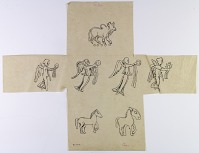 view D-770a: Persia: Animal and Human Figures from Coins: Four Nikes Holding Palm Branch and Corona digital asset: Persia: Animal and Human Figures from Coins: Four Nikes Holding Palm Branch and Corona [drawing]