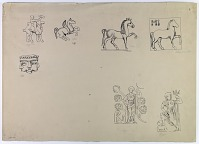 view D-771: Animal and Human Figures from Coins digital asset: East of Iran: Figures from Coins: Bactrian Soter on Horseback, Saka King Azes on a Camel, and Kushan Vimakadphises on an Elephant [drawing]