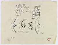 view D-773: Sarpul. Akkadian weapons.IAE, fig.299 digital asset: Sarpul (Iran): Annubanini Holding a Lunular Axe Mounted on a Curved Shaft, Drawn from Rock Reliefs [drawing]