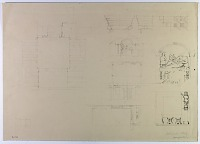 """view D-783: Kharg, catacombs. Plan, elevation and details. Marked """"Unpublished"""" digital asset: Island of Kharg (Iran): Southern Tomb with Relief Depicting a Single Reclining Male on a Couch, Excavated out of the Surface Rock of the Plateau [drawing]"""