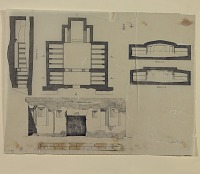 view D-790: Kharg. Plan and elevation of tomb digital asset: Island of Kharg (Iran): Southern Tomb, Excavated out of the Surface Rock of the Plateau: Groundplans and Sections, drawn by Karl Bergner, [drawing]