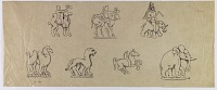 view D-796: Figures from coins. Another version of D-770 and D-771 digital asset: Iran: Animal Figures from Coins [drawing]