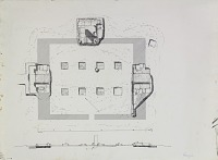 view Excavation of Pasargadae (Iran): Gate R (Gate House, Palace with the Relief): Ground Plan and Section, drawn by Friedrich Krefter, 1928 [drawing] digital asset number 1