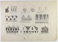 view D-824: Examples of crenellations: Parthian, Sasanian, Muslim digital asset: Examples of Crenellations: Parthian, Sassanian, Muslim [drawing]