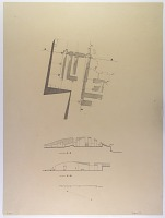 view D-828: Istakhr. Plan and section (exact location not indicated) digital asset: Excavation of Persepolis (Iran): Office of the Guards on the North Wall of Terrace Complex: Ground Plan of the Upper Story, Drawn by Karl Bergner, [drawing]