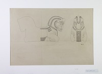 view D-880: Istakhr (?). Bull capitals, side and front views. Bergner, 1934 digital asset: Excavation of Persepolis (Iran): Apadana, Fallen Impost with Double Protome of Animals: Elevation by Karl Bergner, [drawing]