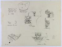 view D-955: Miscellaneous ornaments from Taq-i Bustan and Bistun digital asset: Taq-i Bustan (Iran), Taq-i Girra (Iran), and Bisutun Site (Iran): Various Vegetal Ornaments [drawing]