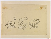 view D-959: Graeco-Bactrian coins, animal designs digital asset: Animal Figures from Graeco-Bactrian Coins [drawing]