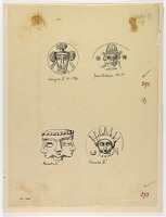 view D-976: Arsacid coins.IAE, figs.392--393 digital asset: Coins Depicting Two Royal Heads, of a Son of Vardanes and of Volagases IV, and Two Other Heads, of the God Mithra and of a Triple Head [drawing]