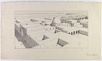 view D-1024: Samarra, Balkuwara. Isometric restoration. Another version D-1025 digital asset: Excavation of Samarra (Iraq): Balkuwara Palace, Cruciform Reception-Hall Block:Isometric Reconstruction [drawing]