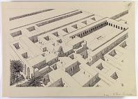 "view D-1103: Samarra, Djausaq. Isometric reconstruction, marked ""VII Series: Samarra"" digital asset: Excavation of Samarra (Iraq): Balkuwara Palace, Cruciform Reception-Hall Block and Courtyard III: Isometric Reconstruction [drawing]"