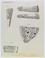 view D-1111e: Excavation of Samarra (Iraq): Fragments of Prehistoric Vessels and Artifacts, Found in the Qasr al-Ashiq digital asset: Excavation of Samarra (Iraq): Fragments of Prehistoric Vessels and Artifacts, Found in the Qasr al-Ashiq [drawing]