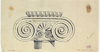 view D-1162: Qyzqapan or Dā u dukhtar. Capital.IAE, fig.350 digital asset: Qyzqapan (Iran): Column Capital with Volutes Projecting Far and a Rich Palmette as Decoration in the Middle [drawing]