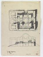 view D-1173: Imamzadeh Sayyid Husain near Shapur.IAE, fig.398 digital asset: Vicinity of Bishapur (Iran): Ruins of Unidentified Imanzadeh: Ground Plan and Reconstructed Elevation [drawing]