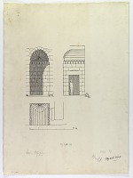 view D-1282: Damascus (Syria): Hafiziya Tomb, Entrance Portal: Ground Plan, Elevation, and Section digital asset: Damascus (Syria): Hafiziya Tomb, Entrance Portal: Ground Plan, Elevation, and Section, [drawing]