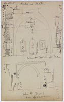view D-1398: Baalbeck (Lebanon): Qubbat as-Saadin: Annotated Sketch of the Facade digital asset: Baalbeck (Lebanon): Qubbat as-Saadin: Annotated Sketch of the Facade [drawing]