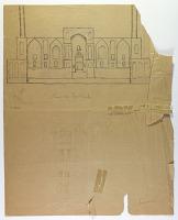 view D-1429: Excavation of Samarra (Iraq): Shiite Shrine Complex, Ghaibat al-Mahdi, Sketch of Facade digital asset: Excavation of Samarra (Iraq): Shiite Shrine Complex, Ghaibat al-Mahdi, Sketch of Facade [drawing]
