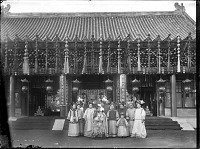 view The Empress Dowager Cixi with attendants in front of Paiyunmen, Summer Palace, Beijing digital asset: The Empress Dowager Cixi with attendants in front of Paiyunmen, Summer Palace, Beijing
